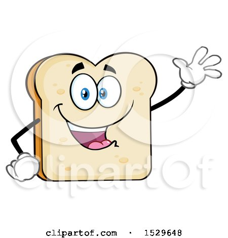 Clipart of a Sliced Bread Mascot Character Waving - Royalty Free Vector Illustration by Hit Toon