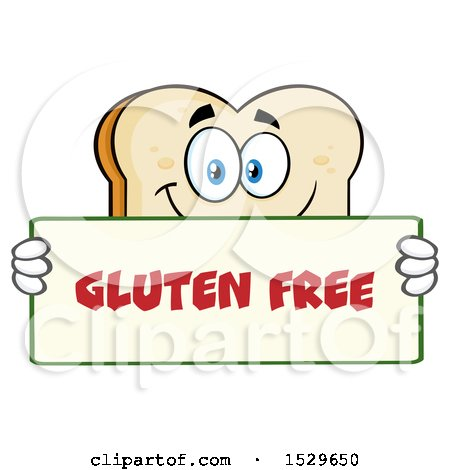 Clipart of a Sliced Bread Mascot Character Holding a Gluten Free Sign - Royalty Free Vector Illustration by Hit Toon