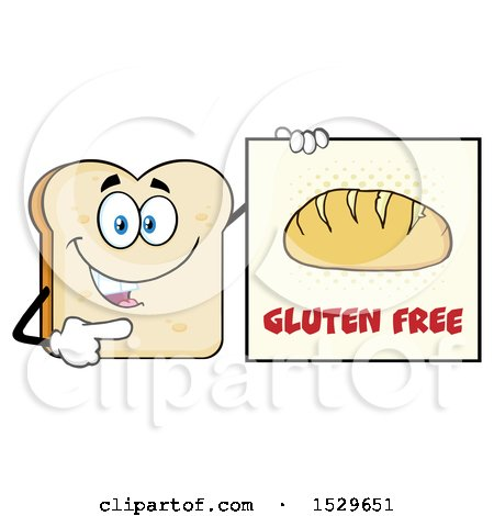 Clipart of a Sliced Bread Mascot Character Pointing to a Gluten Free Sign - Royalty Free Vector Illustration by Hit Toon