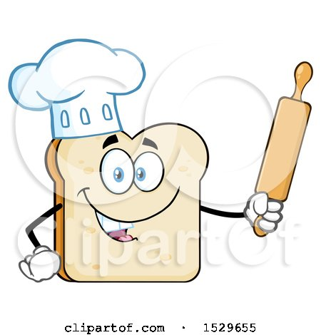 Clipart of a Sliced Bread Chef Mascot Character Holding a Rolling Pin - Royalty Free Vector Illustration by Hit Toon