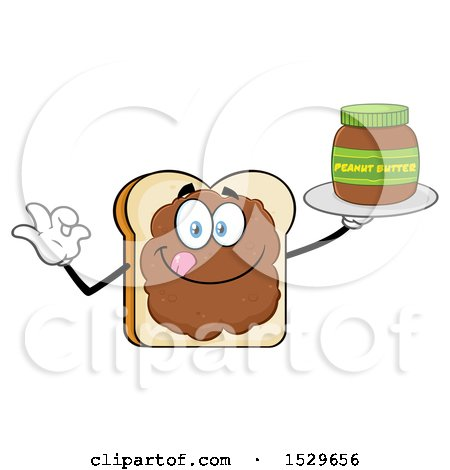 Clipart of a Sliced Bread Mascot Character Smeared with Peanut Butter, Holding a Jar and Gesturing Perfect - Royalty Free Vector Illustration by Hit Toon