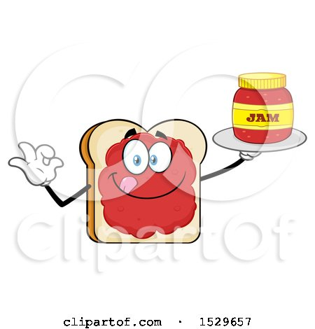 Clipart of a Sliced Bread Mascot Character Smeared with Jam, Holding a Jar and Gesturing Perfect - Royalty Free Vector Illustration by Hit Toon