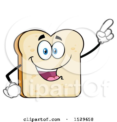 Clipart of a Sliced Bread Mascot Character Pointing - Royalty Free Vector Illustration by Hit Toon