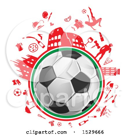 Clipart of a Soccer Ball and Italian Culture Travel Icons - Royalty Free Vector Illustration by Domenico Condello