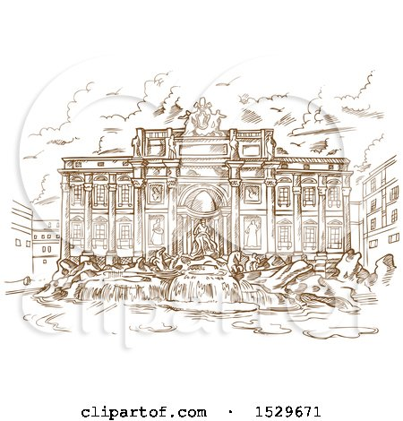 Clipart of a Brown Sketched Scene of Trevi Fountain - Royalty Free Vector Illustration by Domenico Condello