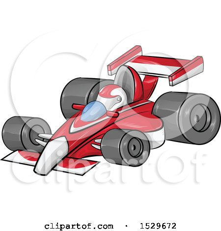 Clipart of a Cartoon Red Forumla One Race Car - Royalty Free Vector Illustration by Domenico Condello