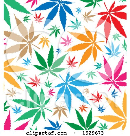 Clipart of a Colorful Marijuana Pot Leaf Background - Royalty Free Vector Illustration by Domenico Condello