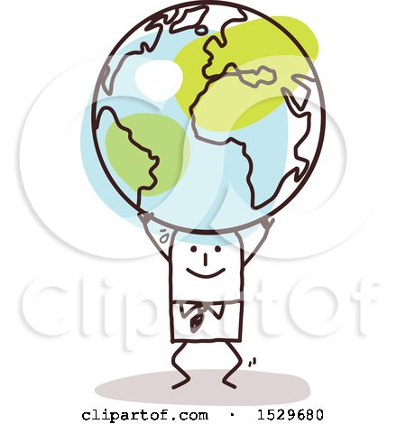 Clipart of a Stick Business Man Carrying an Earth Globe - Royalty Free Vector Illustration by NL shop