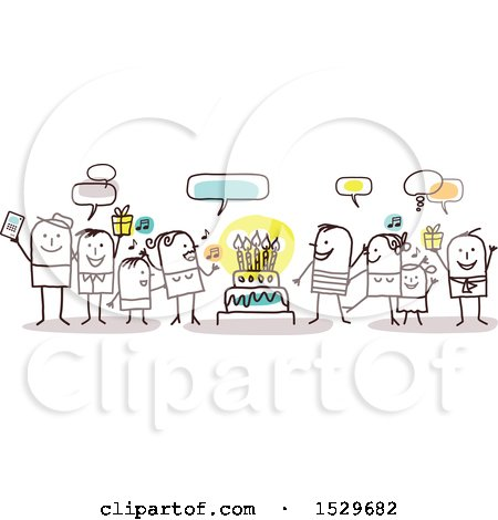 Clipart of a Stick Family Celebrating a Birthday Around a Cake - Royalty Free Vector Illustration by NL shop