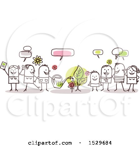 Clipart of a Stick Family Celebrating Spring Time Around a Plant - Royalty Free Vector Illustration by NL shop