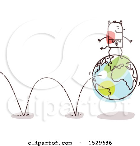 Clipart of a Stick Devil Business Man on a Bouning Earth Globe - Royalty Free Vector Illustration by NL shop