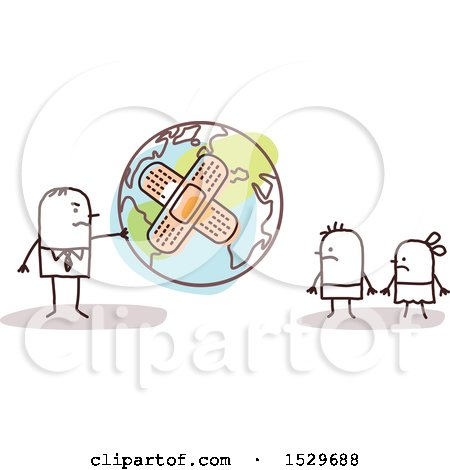Clipart of a Stick Business Man Handing a Bandaged Earth Globe to His Children - Royalty Free Vector Illustration by NL shop