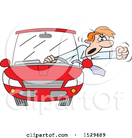 Clipart of a Cartoon Male Driver with Road Rage Waving His Fist out of His Window - Royalty Free Vector Illustration by Johnny Sajem