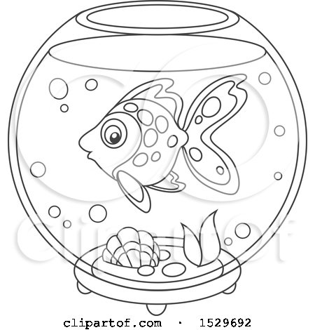 Clipart Of A Black And White Pet Fish In A Bowl Royalty Free