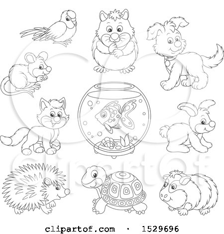 Clipart of Black and White Cute Pet Animals - Royalty Free Vector Illustration by Alex Bannykh