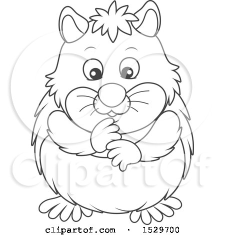 Clipart of a Black and White Cute Hamster - Royalty Free Vector Illustration by Alex Bannykh