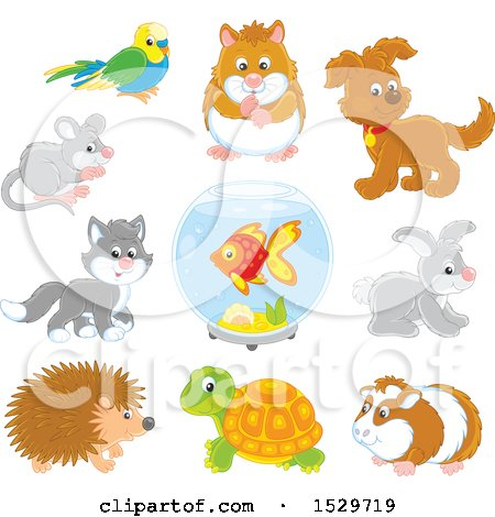 Clipart of Cute Pet Animals - Royalty Free Vector Illustration by Alex Bannykh