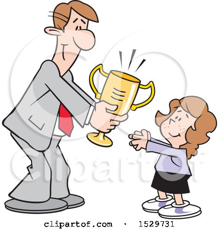 Clipart of a Happy White Business Man Giving a Girl a Trophy - Royalty Free Vector Illustration by Johnny Sajem
