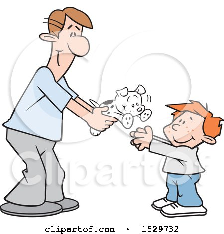 Clipart of a Happy White Father Giving His Son a Puppy Dog - Royalty Free Vector Illustration by Johnny Sajem