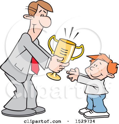 Clipart of a Happy White Business Man Giving a Boy a Trophy - Royalty Free Vector Illustration by Johnny Sajem