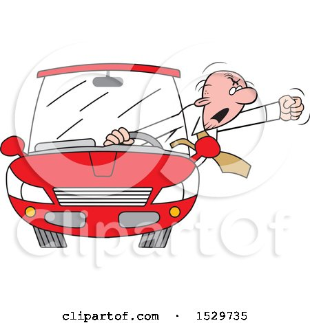 Clipart of a Cartoon White Senior Male Driver with Road Rage, Waving His Fist out of the Window - Royalty Free Vector Illustration by Johnny Sajem