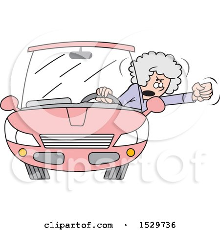 Clipart of a Cartoon Senior White Female Driver with Road Rage, Waving Her Fist out of the Window - Royalty Free Vector Illustration by Johnny Sajem