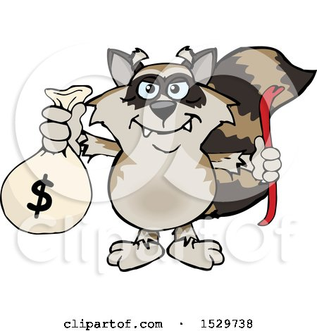 Clipart of a Cartoon Bandit Raccoon Robber Thief Holding a Money Bag - Royalty Free Vector Illustration by Dennis Holmes Designs