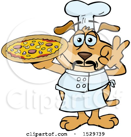 Clipart of an Italian Sparkey Dog Chef Gesturing Perfect and Holding a Pizza Pie - Royalty Free Vector Illustration by Dennis Holmes Designs