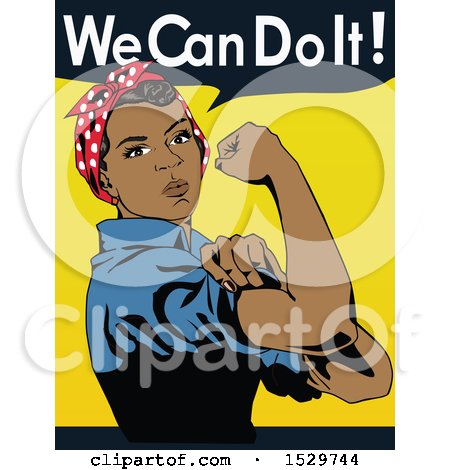 Clipart of a Black Rosie the Riveter Flexing Her Muscles with We Can Do It Text - Royalty Free Vector Illustration by Dennis Holmes Designs