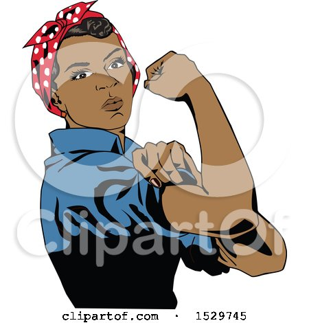 Clipart of a Black Rosie the Riveter Flexing Her Muscles - Royalty Free Vector Illustration by Dennis Holmes Designs