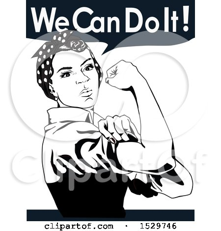 Clipart of an African American Rosie the Riveter Flexing and We Can Do It Text - Royalty Free Vector Illustration by Dennis Holmes Designs