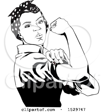 Clipart of a Black and White African American Rosie the Riveter Flexing - Royalty Free Vector Illustration by Dennis Holmes Designs