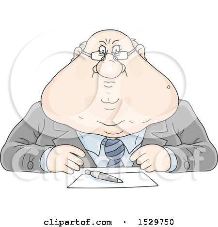 Clipart of a Fat Strict White Business Man Sitting at a Desk - Royalty Free Vector Illustration by Alex Bannykh