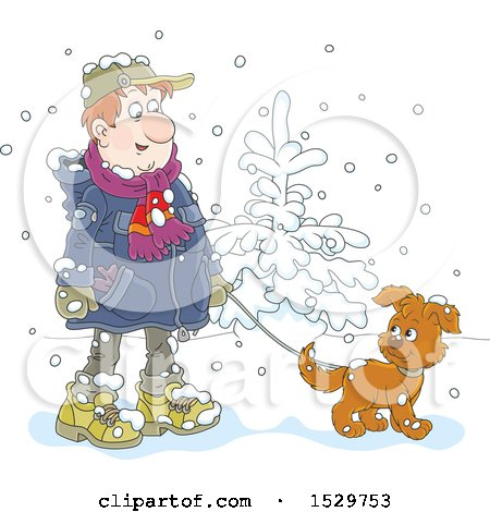 Clipart of a Happy Man Walking His Puppy Dog in the Snow - Royalty Free Vector Illustration by Alex Bannykh