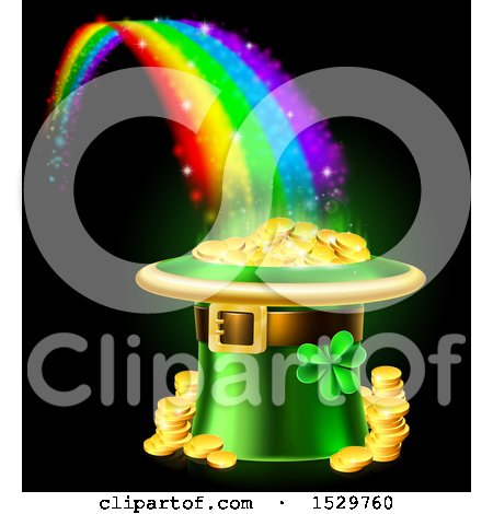 Clipart of a St Patricks Day Leprechaun Hat Full of Gold Coins at the End of a Rainbow, on Black - Royalty Free Vector Illustration by AtStockIllustration
