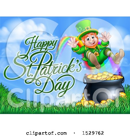 Clipart of a Happy St Patricks Day Greeting by a Leprechaun Jumping over a Pot of Gold at the End of a Rainbow - Royalty Free Vector Illustration by AtStockIllustration