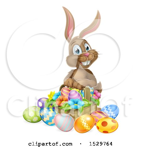 Clipart of a Brown Easter Bunny Rabbit with a Basket of Eggs and Flowers - Royalty Free Vector Illustration by AtStockIllustration