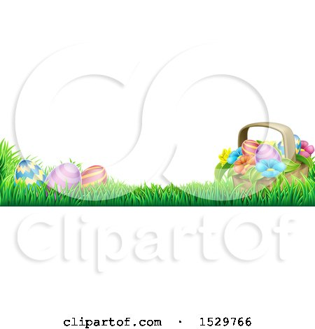 Clipart of a Border of a Basket and Eggs with Flowers in Grass - Royalty Free Vector Illustration by AtStockIllustration