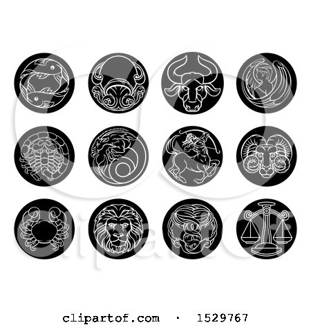 Clipart of Round Black and White Zodiac Astrology Horoscope Star Signs - Royalty Free Vector Illustration by AtStockIllustration