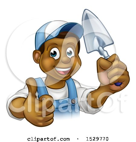 Clipart of a Black Male Mason Worker Holding a Trowel and Giving a Thumb up - Royalty Free Vector Illustration by AtStockIllustration