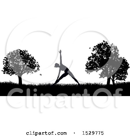 Clipart of a Black and White Silhouetted Woman in a Pilates Pose in a Park - Royalty Free Vector Illustration by AtStockIllustration