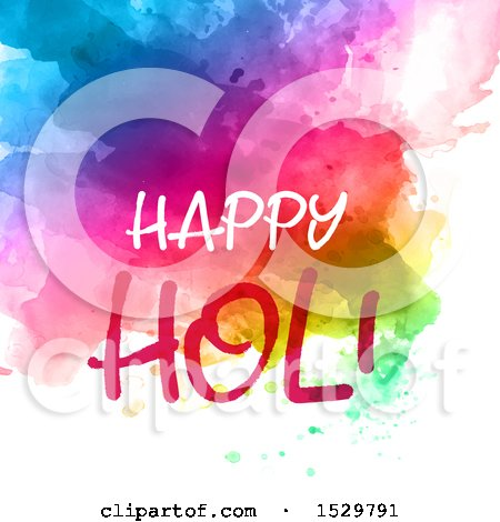 Clipart of a Happy Holi Greeting over Vibrant Watercolor on White - Royalty Free Vector Illustration by KJ Pargeter