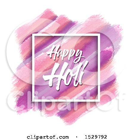 Clipart of a Happy Holi Greeting in a Frame over Watercolor Strokes on White - Royalty Free Vector Illustration by KJ Pargeter