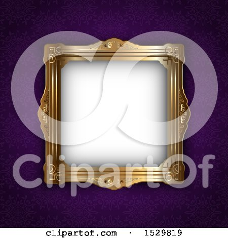 Clipart of a Golden Ornate Blank Picture Frame over a Purple Wall - Royalty Free Vector Illustration by KJ Pargeter