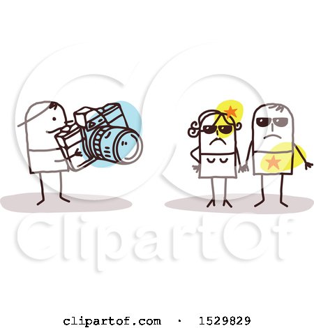 Clipart of a Stick Man Photographer Taking Pictures of Celebrities - Royalty Free Vector Illustration by NL shop