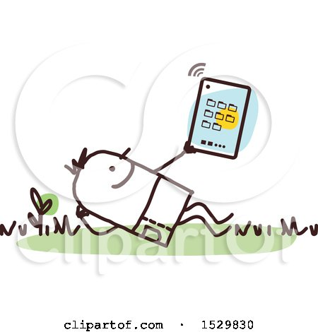 Clipart of a Stick Man Using a Tablet Outdoors - Royalty Free Vector Illustration by NL shop