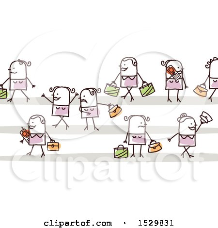 Clipart of a Group of Stick Women Pedestrians - Royalty Free Vector Illustration by NL shop