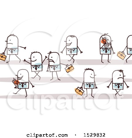 Clipart of a Group of Stick Business Men - Royalty Free Vector Illustration by NL shop