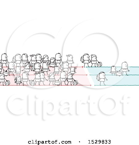 Clipart of a Crowd of Stick People Refugees or Immigrants - Royalty Free Vector Illustration by NL shop