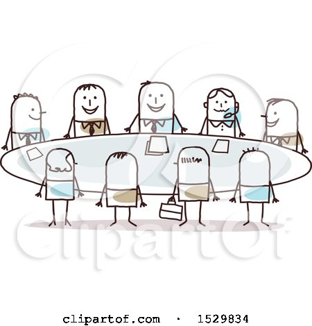 Clipart of a Group of Stick Business Men Around a Meeting Table - Royalty Free Vector Illustration by NL shop